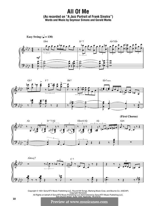 All of Me: For piano by Seymour Simons, Gerald Marks