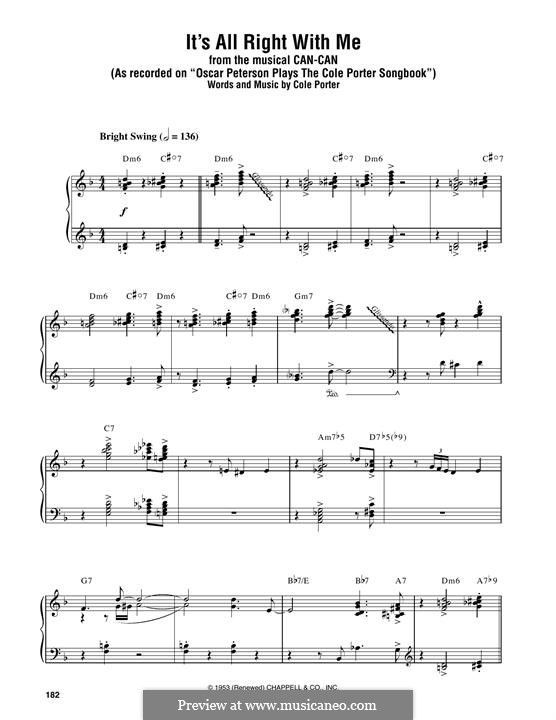 It's All Right with Me: For piano by Cole Porter