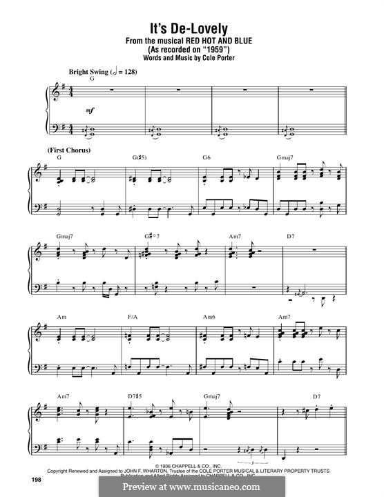 It's De-Lovely: For piano by Cole Porter