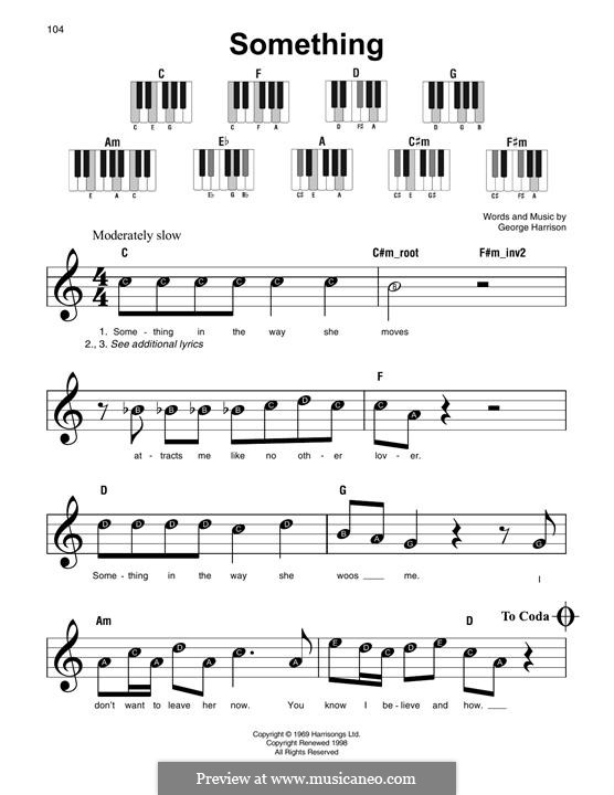 Something (The Beatles) by G. Harrison - sheet music on MusicaNeo