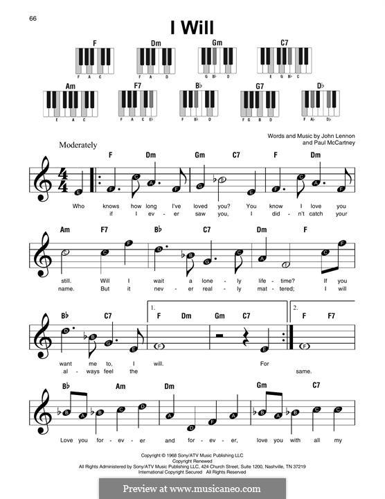I Will (The Beatles): Melody line by John Lennon, Paul McCartney