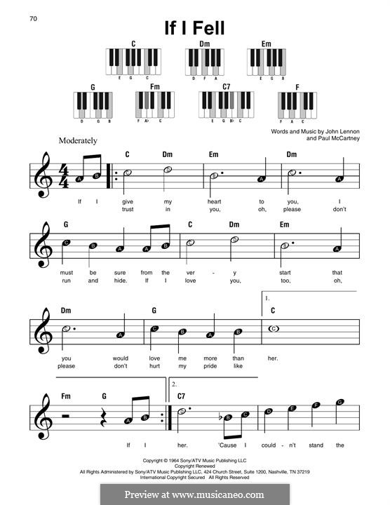 If I Fell (The Beatles): Melody line by John Lennon, Paul McCartney