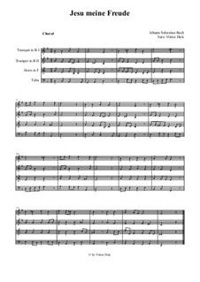 Jesu, meine Freude, BWV 227: Für brass quartet by Johann Sebastian Bach