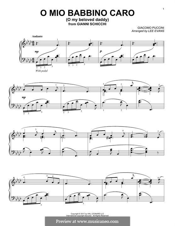 O mio babbino caro: For piano by Giacomo Puccini