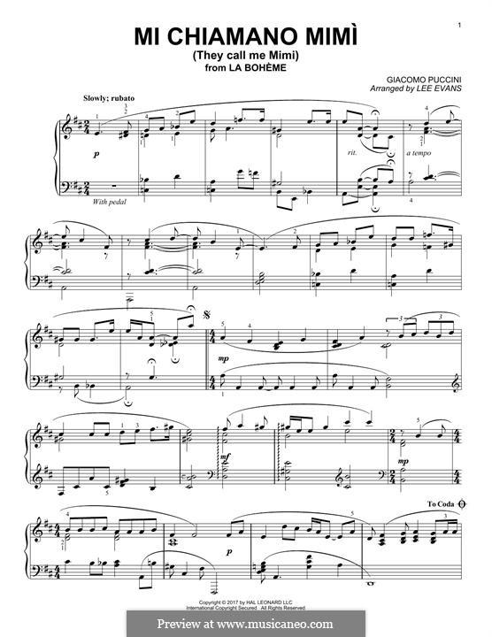 Me chiamano mimi: For piano by Giacomo Puccini