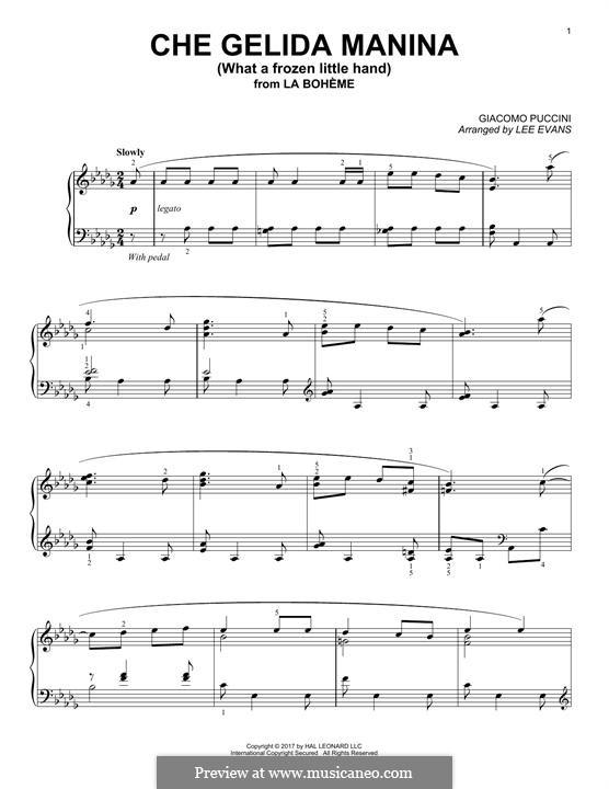 Che gelida manina: For piano by Giacomo Puccini