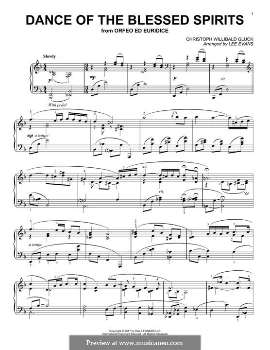 Dance of the Blessed Spirits: For piano by Christoph Willibald Gluck