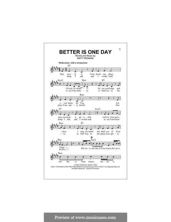Better Is One Day: Melody line by Matt Redman