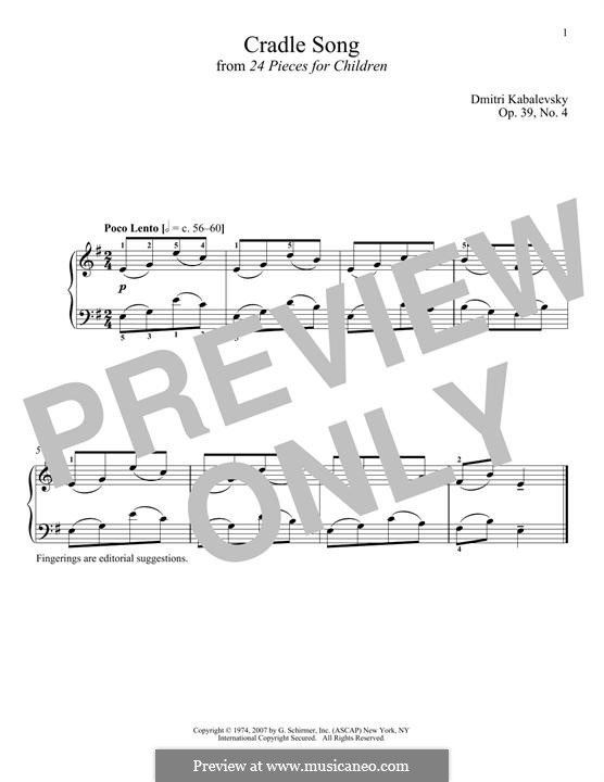 Twenty-Four Easy Pieces, Op.39: No.4 Cradle Song by Dmitri Kabalevsky
