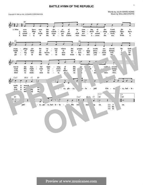 Battle Hymn of the Republic: Melody line by William Steffe