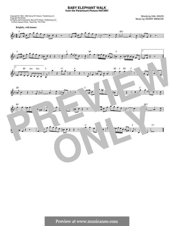 Baby Elephant Walk: Melody line by Henry Mancini