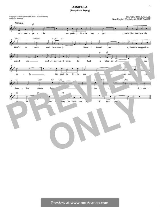 Amapola (Pretty Little Poppy): Melody line by Joseph M. Lacalle