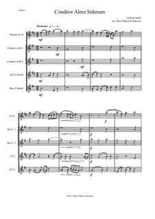 Conditor Alme Siderum (Creator of the stars of night): For clarinet quintet (E fl, 2 x B fl, Alto, Bass) by Ludwig Senfl