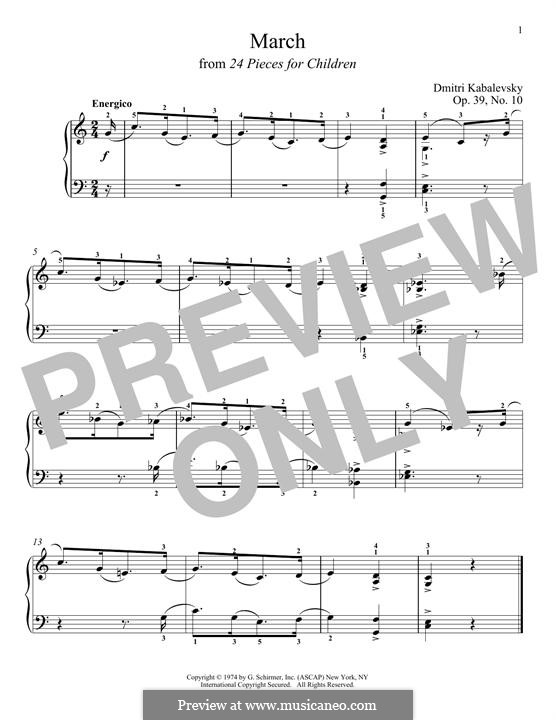 March: For piano by Dmitri Kabalevsky