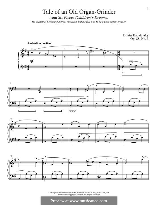Six Pieces, Op.88: No.3 Tale of an Old Organ-Grinder by Dmitri Kabalevsky