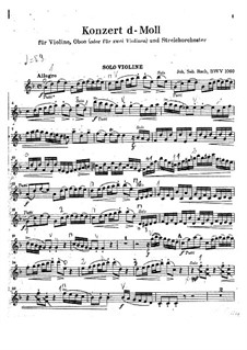 Concerto for Violin, Oboe and Strings No.1 in C Minor, BWV 1060r: Violin part by Johann Sebastian Bach