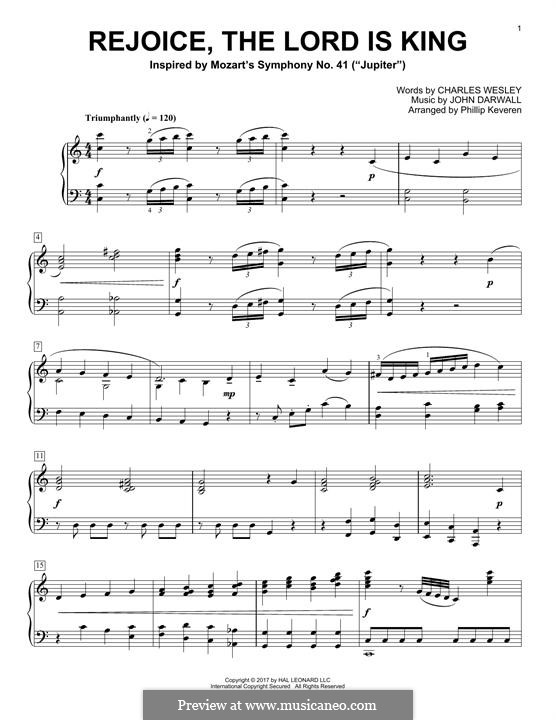 Rejoice the Lord Is King: For piano by John Darwall