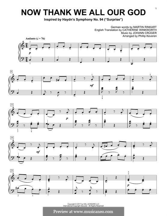Now Thank We All Our God: For piano by Johann Crüger