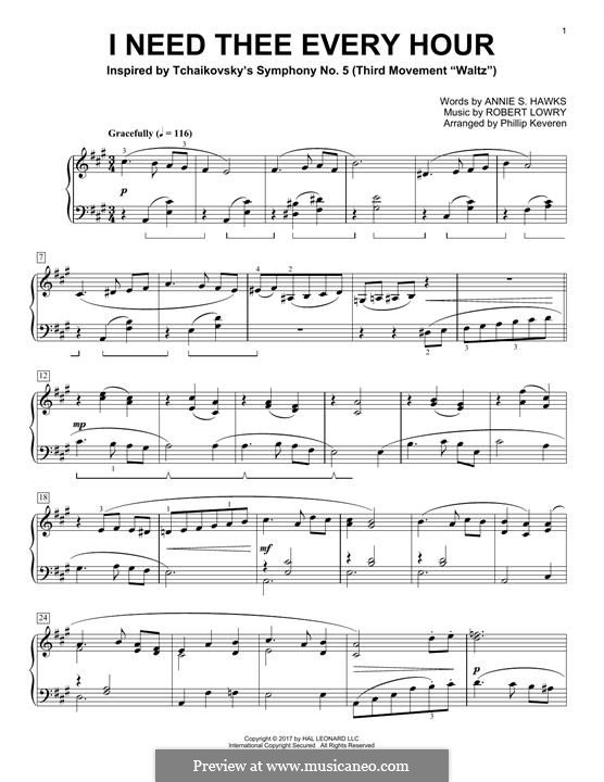 I Need Thee Every Hour: For piano by Robert Lowry