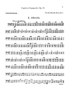 Capriccio Espagnol, Op.34: Cello part by Nikolai Rimsky-Korsakov