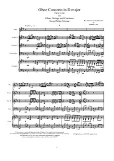Concerto for Oboe, Strings and Continuo in D Major, TWV51:D5: Score, parts by Georg Philipp Telemann
