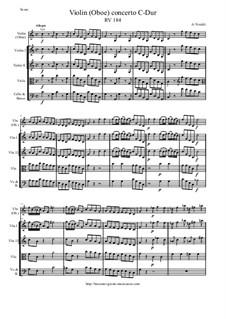 Concerto for Violin (Oboe) and Strings in C Major, RV 184: Score and parts by Antonio Vivaldi