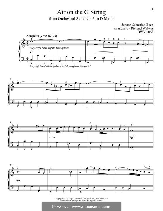 Aria (Printable Scores): Version for piano by Johann Sebastian Bach