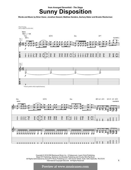 Sunny Disposition (Avenged Sevenfold): For guitar with tab by Brian Haner Jr., Jonathan Seward, Matthew Sanders, Zachary Baker, Brooks Wackerman