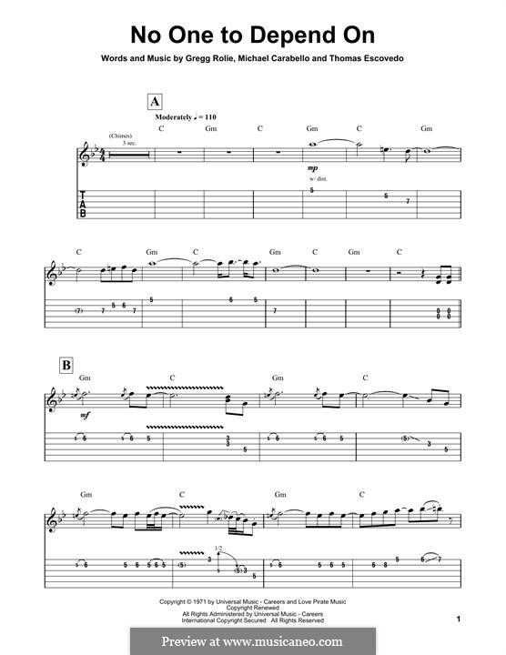 No One to Depend On (Santana): For guitar with tab by Coke Escovedo, Gregg Rolie, Michael Carabello