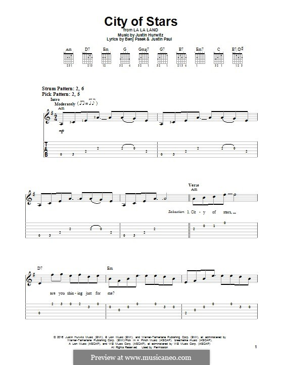City of Stars (from La La Land): For guitar with tab by Justin Hurwitz