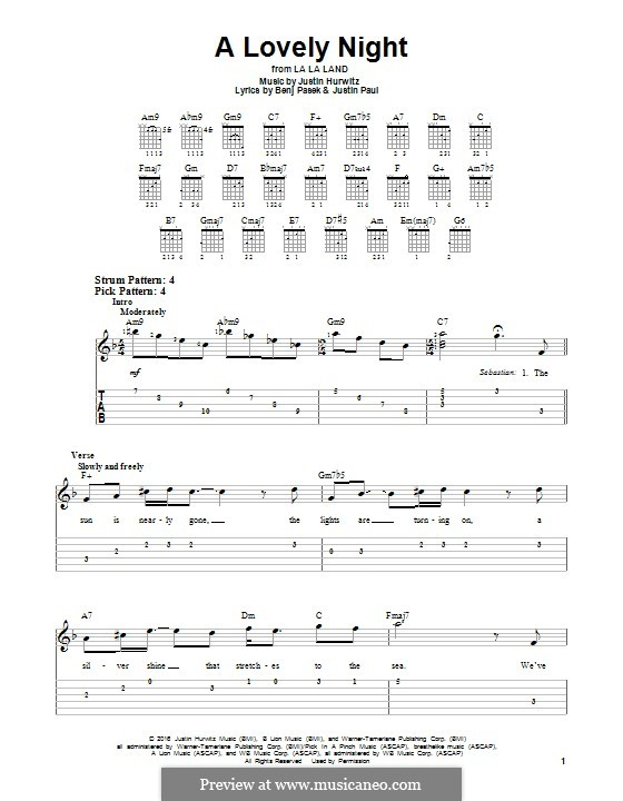 A Lovely Night (from La La Land): For guitar with tab by Justin Hurwitz