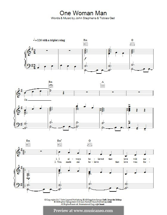 One Woman Man (John Legend): For voice and piano (or guitar) by John Stephens, Tobias Gad