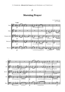 No.1 Morning Prayer: For woodwind quintet by Pyotr Tchaikovsky
