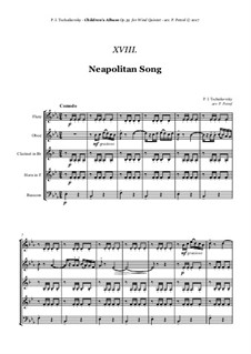 No.18 Neapolitan Song: For woodwind quintet by Pyotr Tchaikovsky