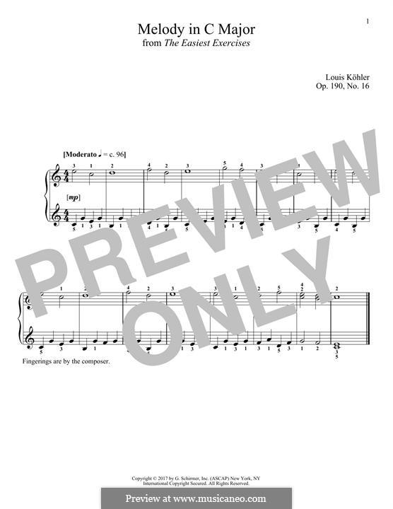 Die allerleichtesten Übungsstücke, Op.190: No.16 Melody in C Major by Louis Köhler