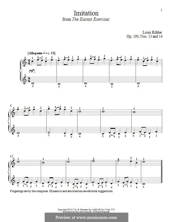 Die allerleichtesten Übungsstücke, Op.190: No.13-14 Imitation by Louis Köhler