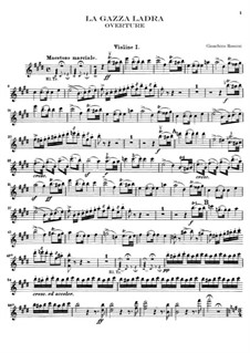 La gazza ladra (The Thieving Magpie): Overture – violin I part by Gioacchino Rossini