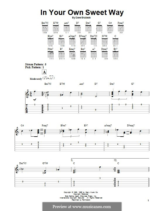 In Your Own Sweet Way: For guitar with tab by Dave Brubeck
