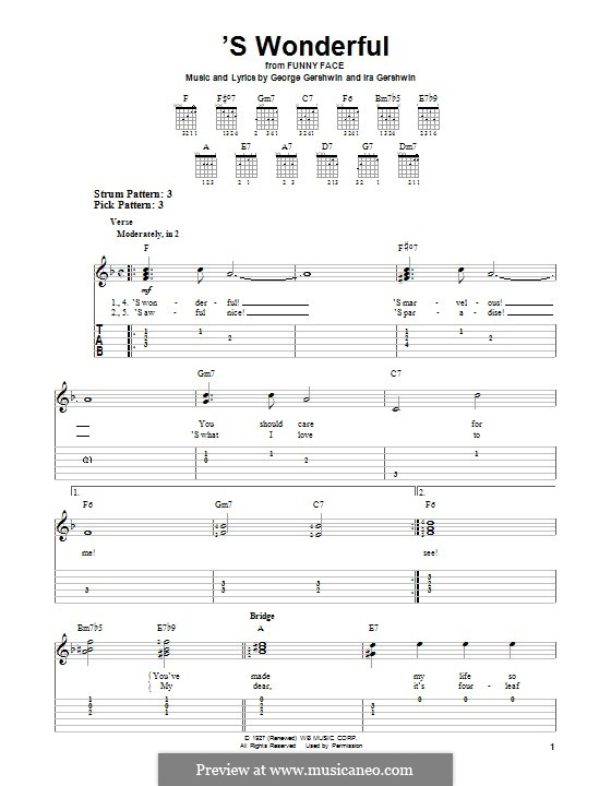 'S Wonderful: For guitar with tab by George Gershwin