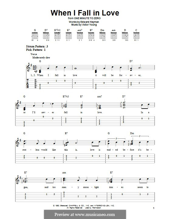 When I Fall in Love (Celine Dion): For guitar with tab by Victor Young