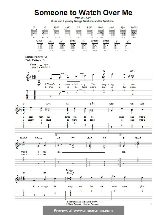 Someone To Watch Over Me (from Oh, Kay!): For guitar with tab by George Gershwin