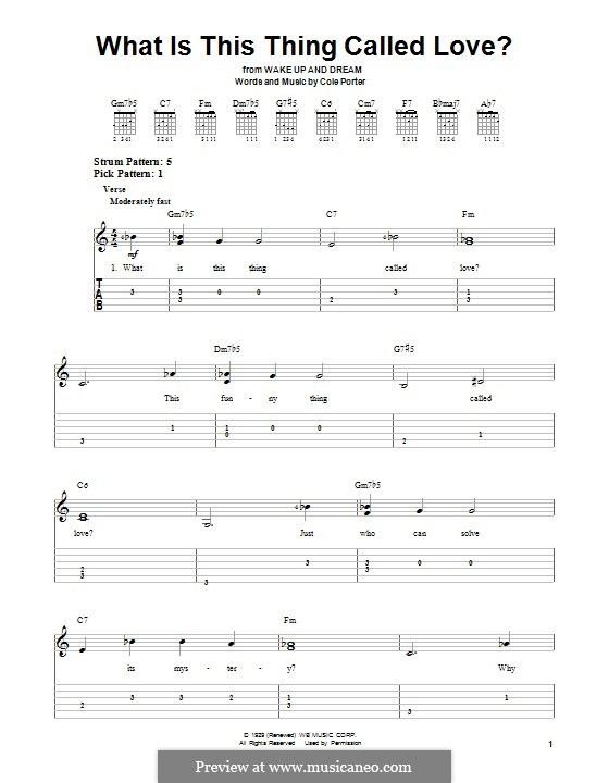 What Is This Thing Called Love?: For guitar with tab by Cole Porter