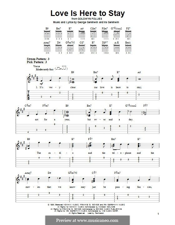 Love is Here to Stay: For guitar with tab by George Gershwin