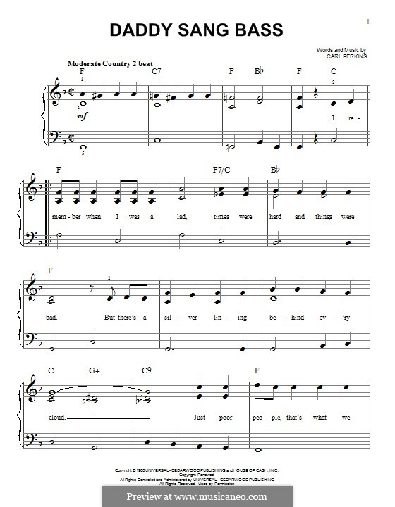 Daddy Sang Bass (Johnny Cash): For piano by Carl Lee Perkins