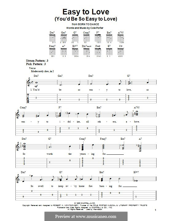 Easy to Love (You'd Be So Easy to Love): For guitar with tab by Cole Porter
