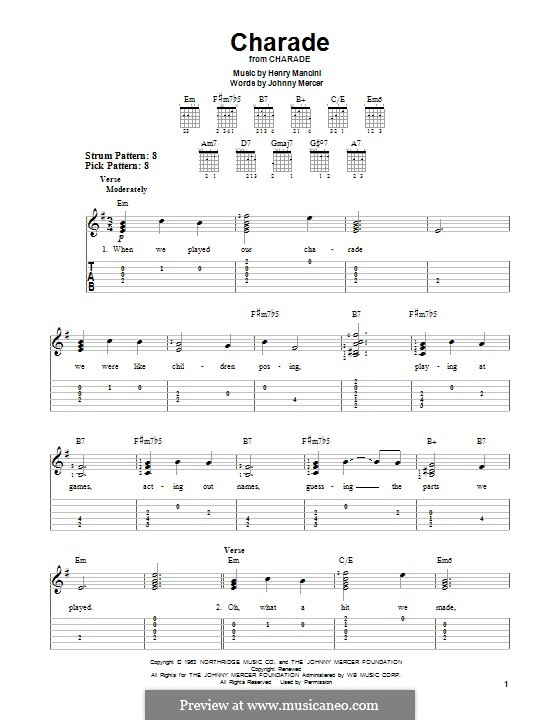 Charade: For guitar with tab by Henry Mancini