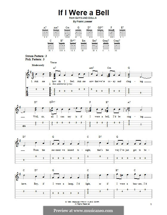 If I Were a Bell: For guitar with tab by Frank Loesser