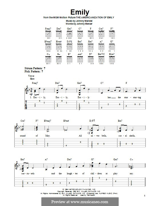 Emily (from The Americanization of Emily): For guitar with tab by Johnny Mandel
