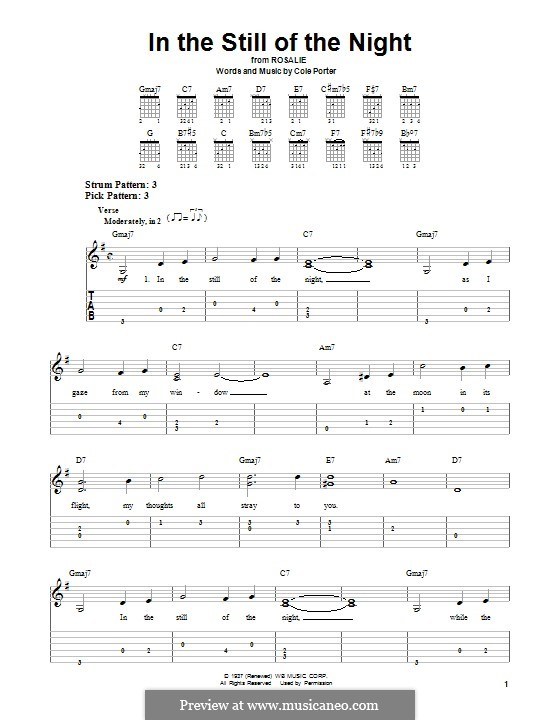 In the Still of the Night: For guitar with tab by Cole Porter