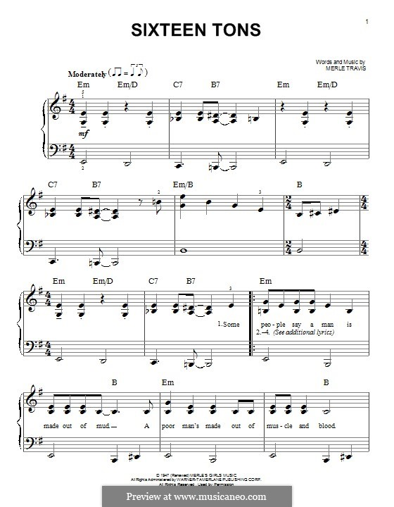 Sixteen Tons (Tennessee Ernie Ford): For piano by Merle Travis